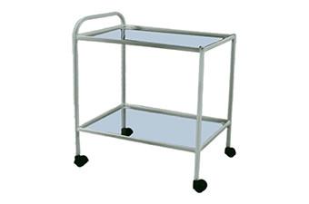 Столик процедурный передвижной 2-х полочный (стекло/нержавеющая сталь) СПп-01 МСК-501-02